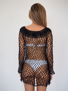 LUI Crochet Dress in Black little slip crochet dress to be worn over swimwear or clothing  GERRY CAN