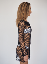 Load image into Gallery viewer, LUI Crochet Dress in Black little slip crochet dress to be worn over swimwear or clothing  GERRY CAN