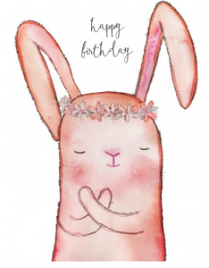 FLOWER BUNNY - HAPPY BIRTHDAY CARD - JM122
