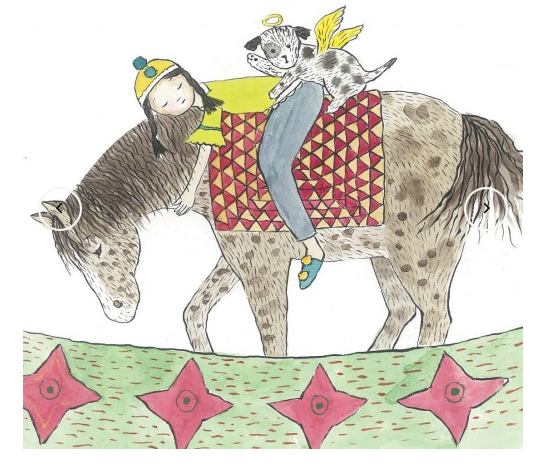 Copy of BOHO CHILD RIDING HORSE HAND DRAWN - ALL OCASSION CARD - GAB19