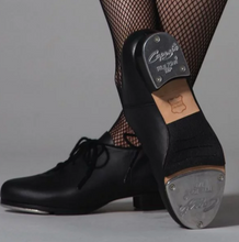Load image into Gallery viewer, capezio cadence lace up black tap shoe with teletone taps for children.