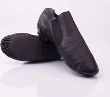 Load image into Gallery viewer, leather slip on jazz shoe with elastic side for comfort in black