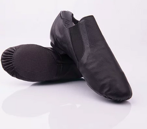 leather slip on jazz shoe with elastic side for comfort in black