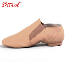 Load image into Gallery viewer, leather slip on jazz shoe with elastic side for comfort in tan