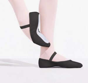 daisy full sole leather ballet shoe in black for beginner ballerinas.
