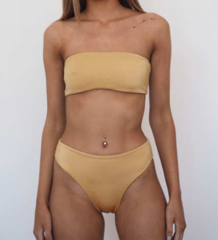 ZARA REVERSIBLE With two shades of gold Bikini SET-GERRY CAN Moderate Cut Brief and bandeau top