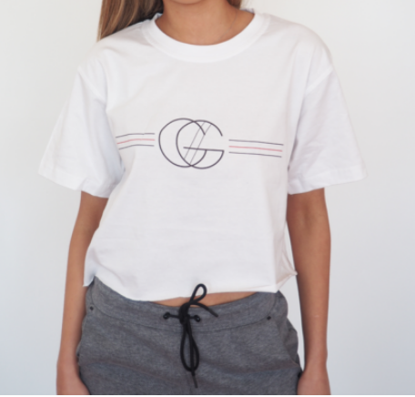 gg logo cropped white t-shirt sits above the hips in 100% cotton, mens sizing for a boxy loose fit by GERRY CAN