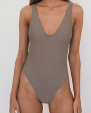 Load image into Gallery viewer, BOND HIGH CUT ONE PIECE, deep scoop back and scoop front swimming costume or swimsuit - Light Tan- GERRY CAN