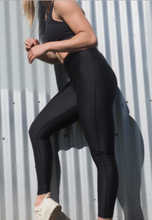 Load image into Gallery viewer, CELINE high waisted, squat proof full length leggings for gym wear, yoga or streetwear. Not transparent and heavy weight wicking fabric in Black- GERRY CAN