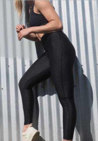 CELINE high waisted, squat proof full length leggings for gym wear, yoga or streetwear. Not transparent and heavy weight wicking fabric in Black- GERRY CAN