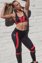 Load image into Gallery viewer, peak pro full length legging are black with linear colour blocking to elongate the legs and mesh to keep you call, squat proof and suitable for gym, street, yoga. by Gerry Can