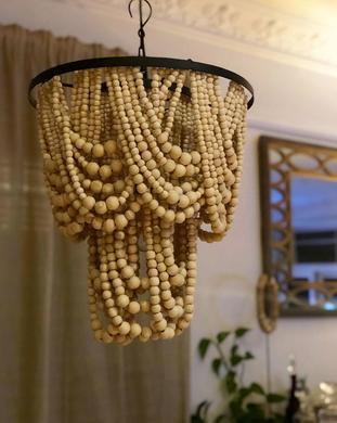 Drapery Natural Beaded Medium size boho chandelier