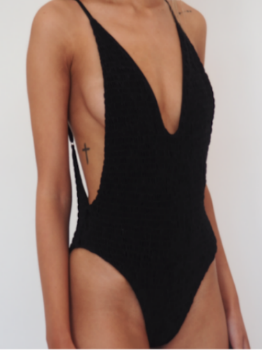 ADALINE // ruched lycra minimal high cut one piece, plunge front and back suit. GERRYCAN