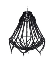 Load image into Gallery viewer, Ecora Boho Detailed Beaded Chandelier Pendant in Black