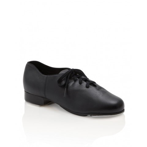 capezio cadence lace up black tap shoe with teletone taps for children.