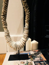 Load image into Gallery viewer, HEAVY DETAILED SHELL TRIBAL NECK PIECE ON STAND