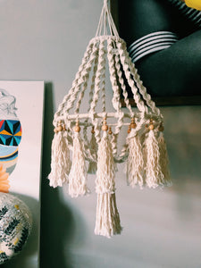 Macrame and Bead twisted large hanger pendant