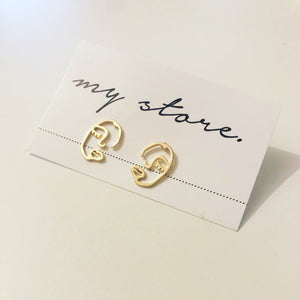 FACE LINE EARRINGS - BRASS