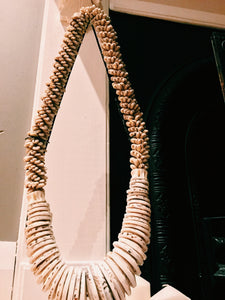 HEAVY DETAILED SHELL TRIBAL NECK PIECE ON STAND