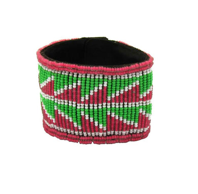 Odisya- Basecamp Maasai Brand Green and Pink Beaded Leather Cuff