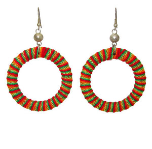Odisya- Orange Inca Woven Hoops