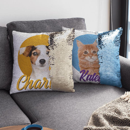 Pet Portrait Reversible Sequin Pillow & Insert - Vizionaryfocus Top Shelf