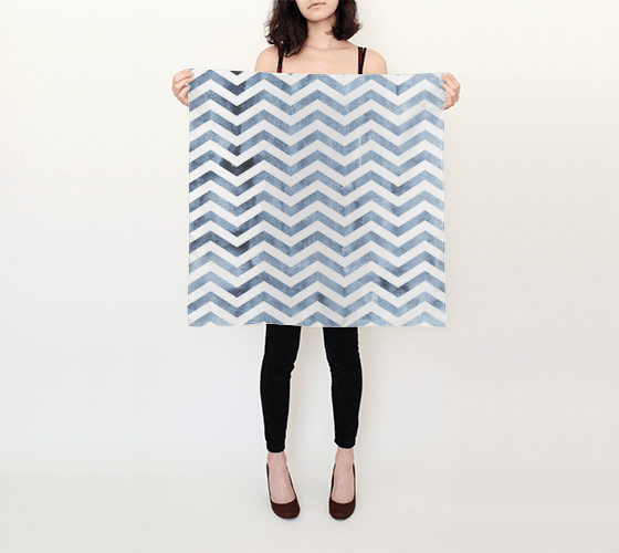 Distressed Denim Chevron Scarf 26X26