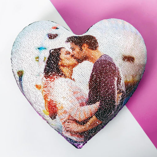 Custom Heart Sequin Pillow w/ Insert - Vizionaryfocus Top Shelf
