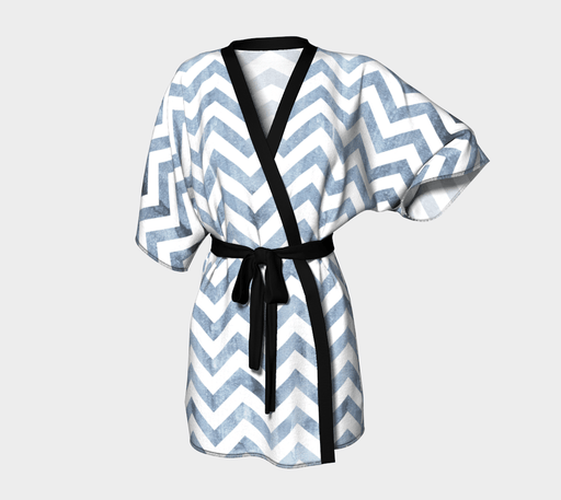 Distressed Denim Chevron Kimono - Vizionaryfocus Top Shelf