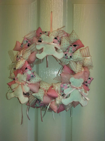 Fabric Wreath - New Baby (Pink, blue, lemon or beige)