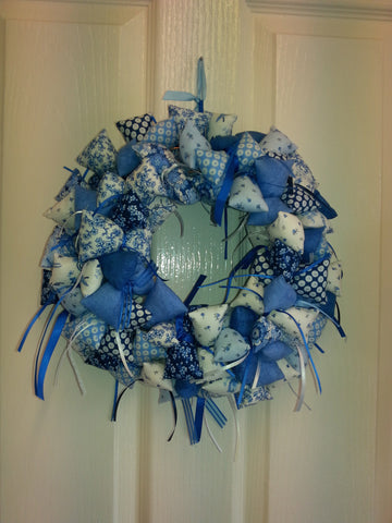 Fabric Wreath - Oriental Blue