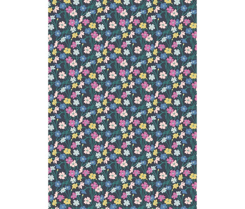 Liberty - Deco Dance  - Dancing Buttercups - Inky Blue (923A)