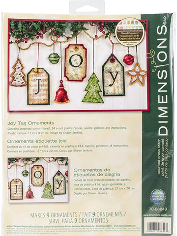 Dimensions- Counted Cross Stitch Kit - Joy Tag Ornaments