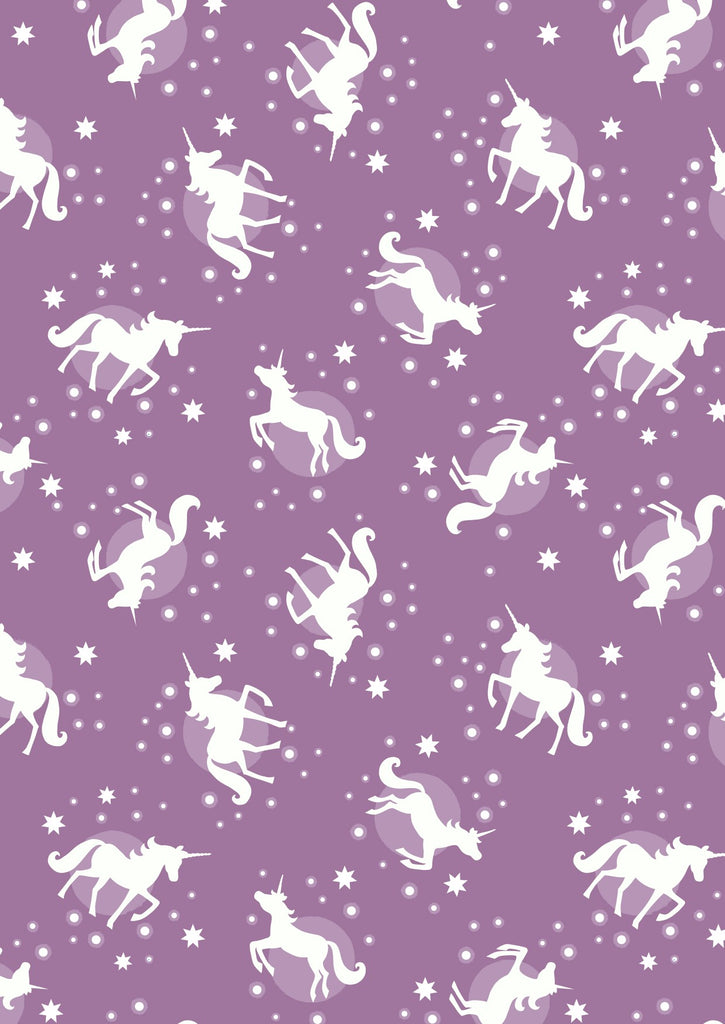 Lewis and Irene - Fairy Nights - Unicorn spots on soft blackberry