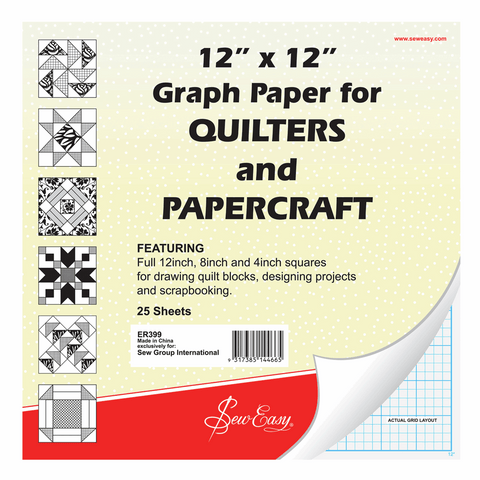 "Sew Easy - 12"" x 12"" Graph Paper for Quilters"
