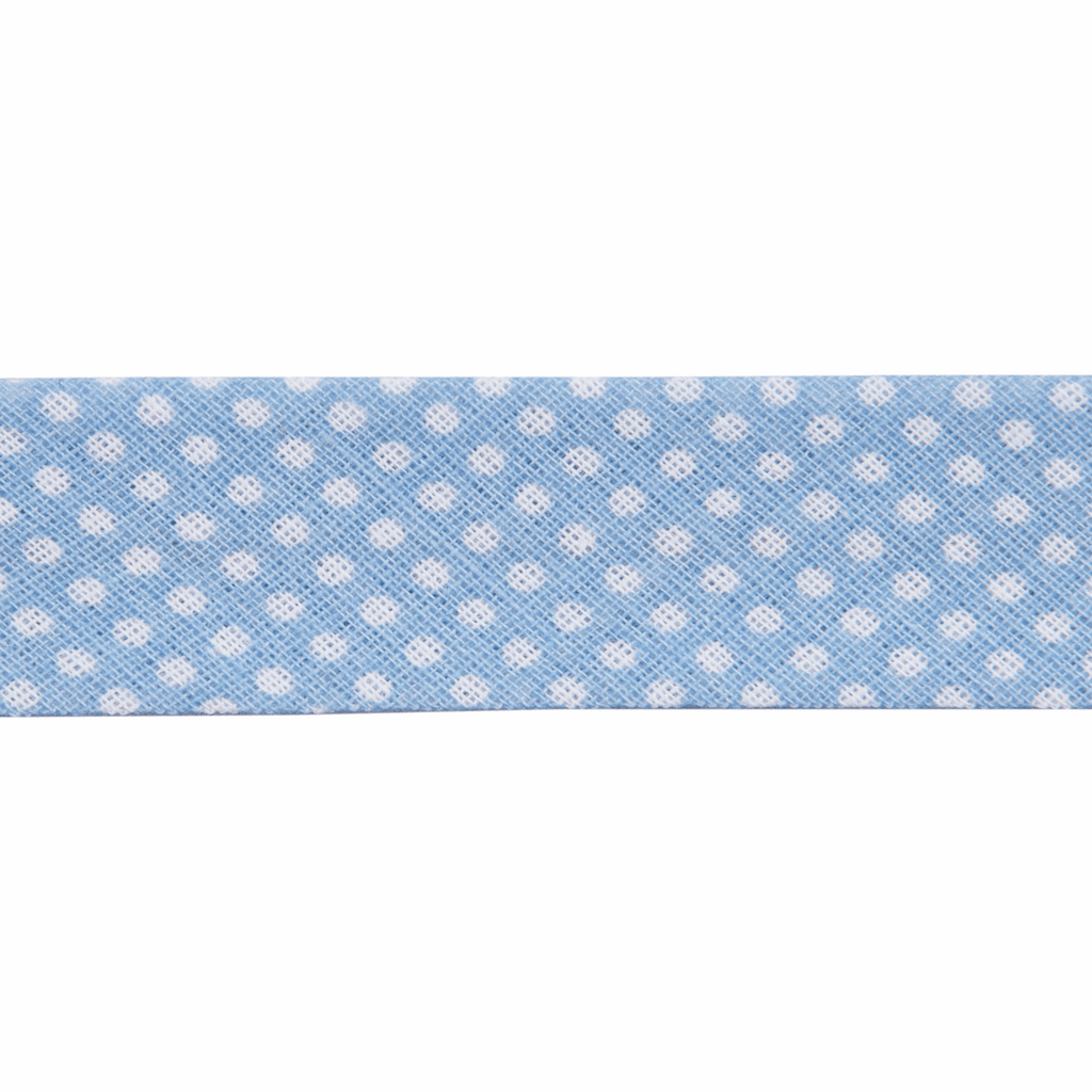 Essential - Bias Binding 20mm - white spots on light blue