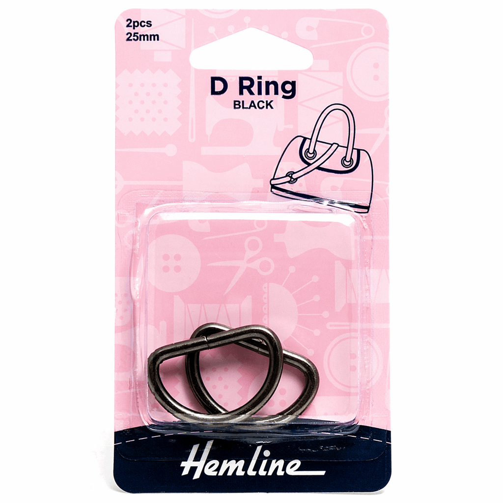 D Rings 25mm 2pcs  - Black