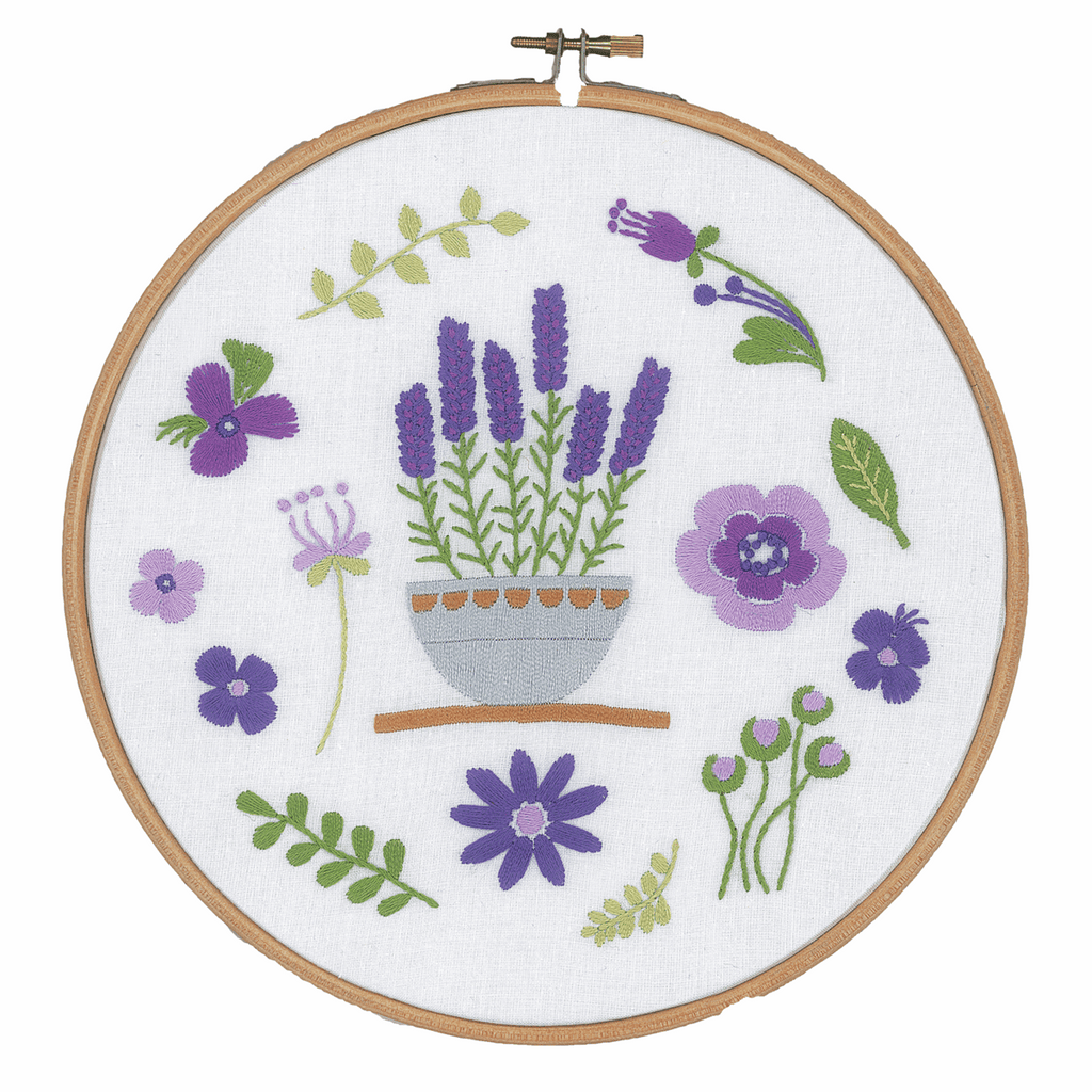 Vervaco Embroidery Kit with Hoop - Lavender