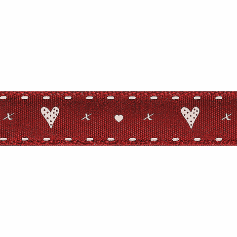 Berisfords Ribbon -  15mm  Hearts and Kisses