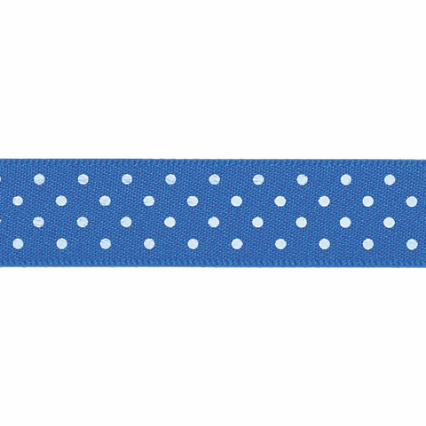 Berisfords Ribbon -  15mm  Micro dot - white/blue