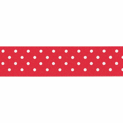 Berisfords Ribbon -  10mm  Micro dot - white/red