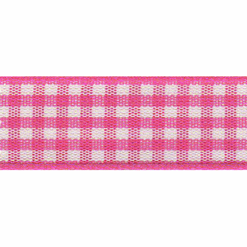 Berisfords Ribbon -  15mm Gingham  - Shocking Pink
