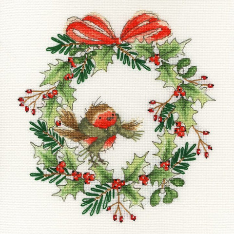 Bothy Threads - Counted Cross Stitch Kit - Robin Wreath