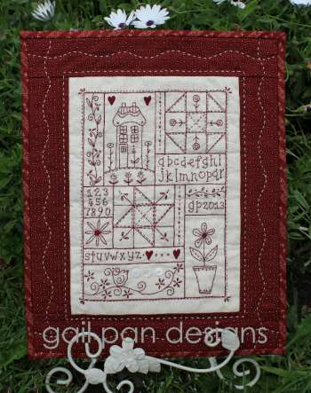 Gail Pan Sampler in Red Wallhanging
