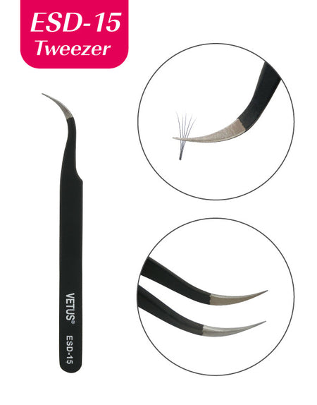 Misslamode LT02 Stainless Tweezers Rau 3D-9D Eyelash Extension Dawb Shipping Tweezers