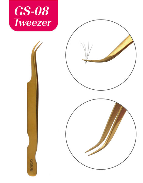 Eyelash গ্রাফটিং জন্য Misslamode GS08 পক্ষ্ম সুবর্ণ রঙ tweezers eyelash applicator - মিসমোড