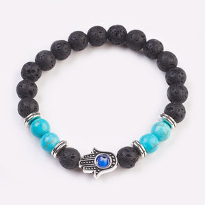 Turqeunite, Natural Lava & Resin Beads Stretch Bracelets - Evil Eye, Tibetan Style Beads, Hamsa Hand (5cm Beads)
