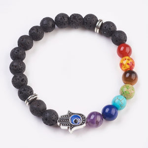 Chakra Gemstone & Resin Beads Stretch Bracelets - Evil Eye, Tibetan Style Alloy Beads, Hamsa Hand, (5cm Beads)