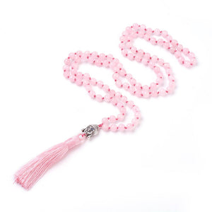 Mala (Prayer Beads) with Natural Rose Quartz Beads, Buddha Head (79 to 84cm)