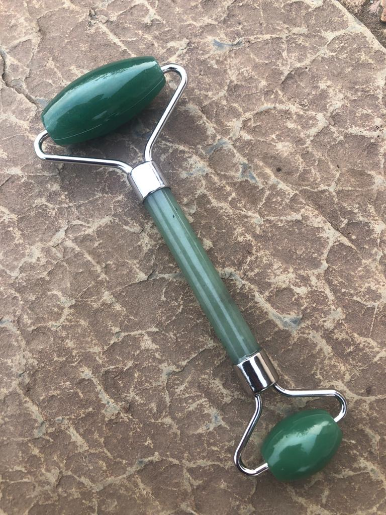 Jade / Aventurine Facial Roller - Silver Colour Finish